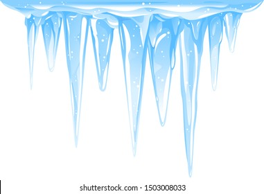 Blue frozen icicle cluster hanging down from snow-covered ice surface, big quality detailed group of icicles isolated, carefully drop the icicles
