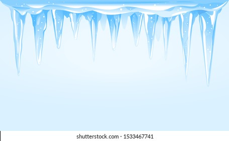 Blue frozen icicle cluster hanging down on top of blue background, big quality detailed group of icicles templates for text, carefully drop the icicles