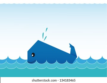 Blue funny whale
