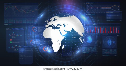 Blue futuristic background. Bitcoin and blockchain. Electronic cryptocurrency and modern technology. Digital transformation. Hologram a globe of the word.
