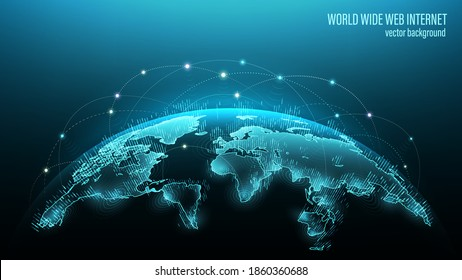 Blue futuristic background with planet Earth. Vector. Internet satellites transmit signals. Map of the planet. Global social network. Future. Internet and technology. Floating blue plexus geometric.