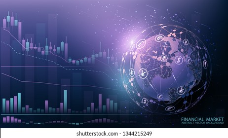 Blue futuristic background. Quotes on world markets. Modern technology. Online banking, financial communications and mining. World wide web. Hologram with a globe of the world. Vector illustration.