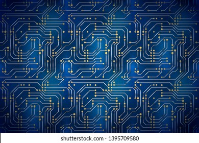 Blue futuristic circuit board, electronic motherboard wide detailed background