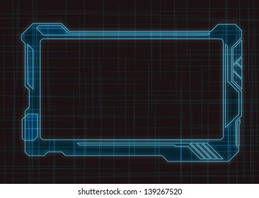 Blue Futuristic Screen Tablet Device