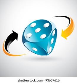 blue gambling dice
