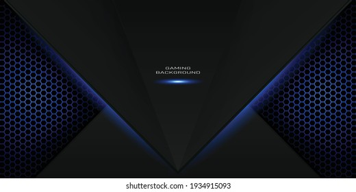 blue gaming background with hexagon pattern