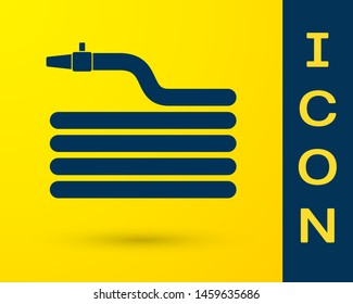 Blue Garden hose or fire hose icon isolated on yellow background. Spray gun icon. Watering equipment.  Vector Illustration