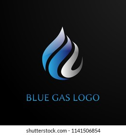 blue gas logo concept for gas and oil logo company. blue gas is symbol spirit and live. vector logo, symbol, sign, or mark design illustration
