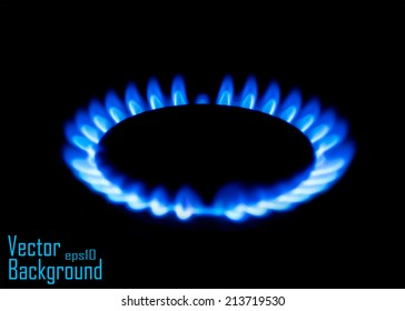 Blue gas stove in the dark - Vector