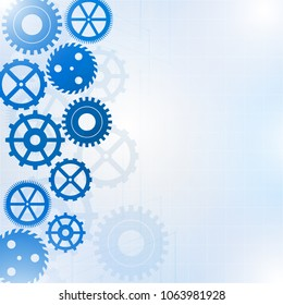 Blue gears on the white background, Vector illustration