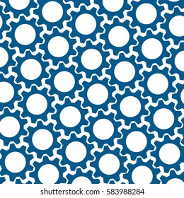 blue gears. white background. abstract turquoise pattern. vector illustration