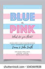 Blue or pink? Gender reveal party invitation card vector design.
