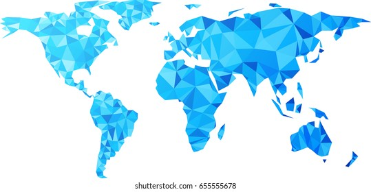 Blue geometric abstract world map. Vector illustration.