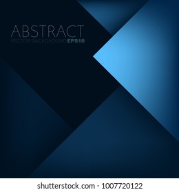 Blue geometric background triangle layer overlap with black space for text and background design