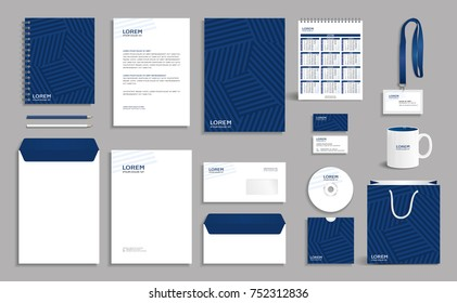 Blue geometric corporate identity design template eps10