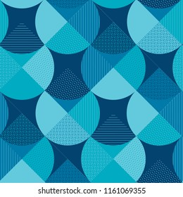 Blue geometric patterns patchwork. Water and sea inspired seamless pattern for fabric and other surface design. Abstract mosaic repeatable motif.