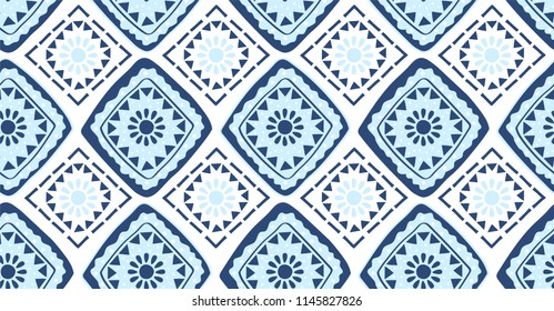 Blue geometric seamless pattern in African style with square,tribal and circle