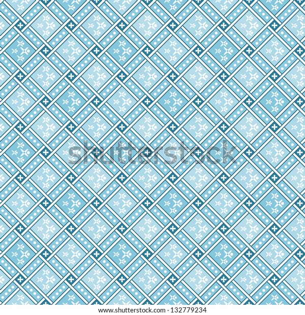 Blue geometric tiles Decorative Abstract Seamless Pattern texture