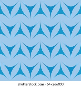 Blue geometric triangulars background. Curvilinear triangles. A symmetrical pattern. A seamless texture. Seamless geometric blue background.
