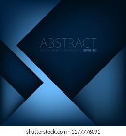 Blue geometric vector background overlap layer on square dark space for text and background design