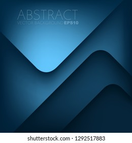 Blue geometric vector background triangle overlap layer with space for design
