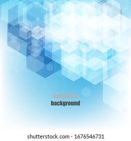 Blue geometric vector hexagons background. Poster design, design element.