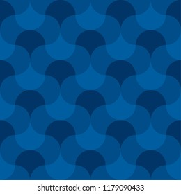 Blue geometric wallart motif. Water and sea inspired seamless pattern for fabric and other surface design. Abstract mosaic repeatable motif.