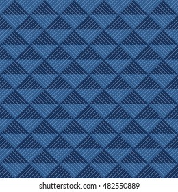 Blue geometric weave pattern on triangle seamless pattern