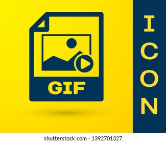 Blue GIF file document icon. Download gif button icon isolated on yellow background. GIF file symbol. Vector Illustration