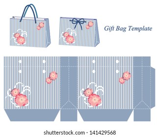 Blue gift bag template with stripes and pink flowers. Vector illustration.