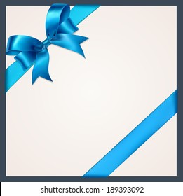 Blue gift bows with ribbons. Vector.