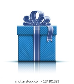 Blue gift box with ribbon and bow. Vector illustration