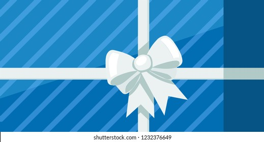 Blue gift box with ribbon and white bowknot