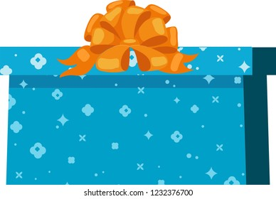 Blue gift box with sparkling pattern and orange bowknot