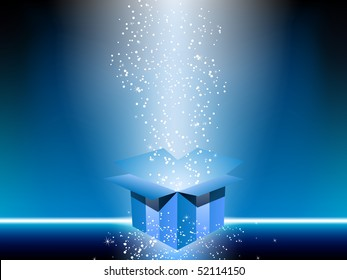 Blue gift box with stars. Editable Vector Image