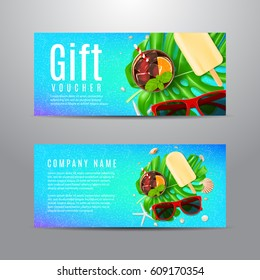 Blue gift voucher with summer composition. Unusual design of coupon usable for invitation and ticket. Vector illustration with sun glasses, seashells, fresh cocktail and ice cream.