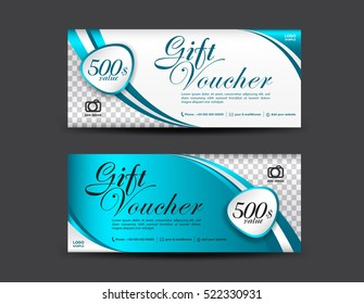 Blue Gift Voucher template, coupon design, certificate, ticket template, discount layout