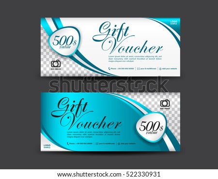 blue gift voucher template coupon design stock vector royalty free