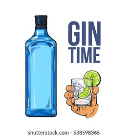 Blue gin bottle and hand holding glass with ice and lime, icolated sketch vector illustration. Realistic hand drawing of unlabeled, unopened bottle and gin on rocks cocktail for posters, postcards