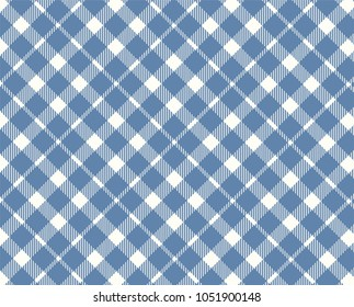 Blue Gingham pattern. Texture from rhombus/squares for - plaid, tablecloths, clothes, shirts, dresses, paper and other textile products. Vector illustration.