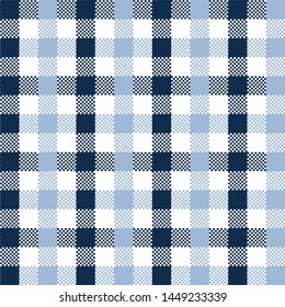 Blue Gingham pattern. Texture from squares for - plaid, tablecloths, clothes, shirts, dresses, paper, bedding, blankets, quilts and other textile products. Vector illustration EPS 10