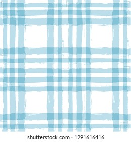 Blue Gingham seamless pattern. Rhombus and squares texture for textile: shirts, plaid, tablecloths, clothes, dresses, bedding, blankets, paper. vector checkered summer paint brush strokes.