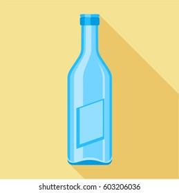 Blue glass bottle icon. Flat illustration of blue glass bottle vector icon for web
