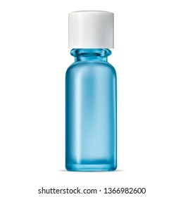 Blue Glass Bottle. Isolated Transparent Jar. Serum Pack. Realistic Cobalt Container for Perfume Moisture Water. Clean Liquid Gel Package without Label and Glossy White Cap. Elegant Concept.