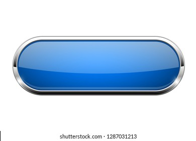 Blue glass button. Shiny oval 3d web icon. Vector illustration isolated on white background