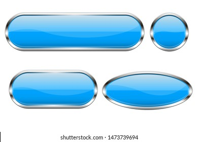 Blue glass buttons. Set of 3d oval shiny icons with chrome frame. Vector illustration isolated on white background