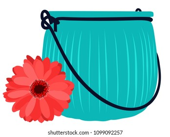 Blue glass jar and beautiful flower. Vector flat illustration.