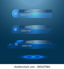 blue glass lower third - vector illustration