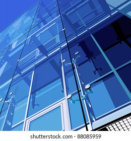Blue glass office building. Vector. No gradients, meshes and strokes.