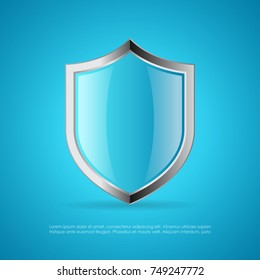 Blue glass protection vector shield illustration isolated on blue background